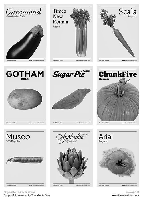 Vegetables as typefaces